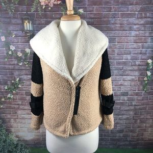 Women's Beige Teddy Jacket Faux Fur Size S
